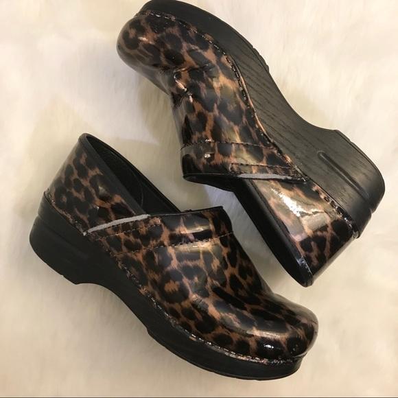 f9726b7aa2b Dansko Animal Print Leather Clog Shoes Size 38